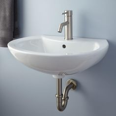 "$170 with brass drain 23"" Maisie+Porcelain+Wall-Mount+Bathroom+Sink+"