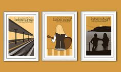 Poster set of 3 Before Sunrise trilogy 12x8 by ClaudiaVarosio, £25.00
