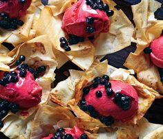 Celebrate #NationalDessertDay with These Beautiful, Low-Cal Desserts Fancy Enough for Guests | Phyllo Flowers With Sorbet and Blueberries