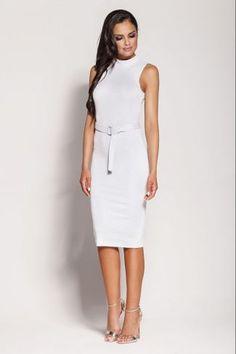 b59a8f06a5a Εφαρμοστό midi φόρεμα αμάνικο - Λευκό