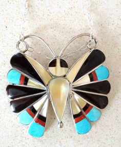 Knockout  Sterling Silver 925 Signed Zuni Onyx Coral  and Mother of Pearl Brooch/Pendant Necklace