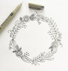 """I'm back with my third post in the """"How to Draw"""" series. (You can view the first two here and here.) I love drawing wreaths but I find myself feeling really overwhelmed when I sit down to draw one. Where do I start? Too sparse? Too full? Botanical Line Drawing, Floral Drawing, Drawing Flowers, Painting Flowers, Flower Design Drawing, Rose Drawing Simple, Simple Flower Drawing, Boat Painting, Plant Drawing"""