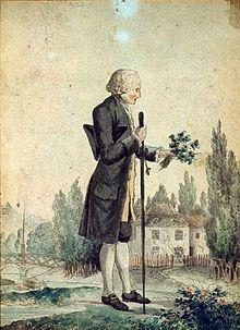 Tableau représentant un homme de profil à perruque blanche, tenant un bâton et un bouquet. Au second plan, un pavillon.