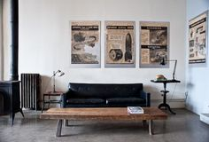 Solid chair, simple wooden table, old-school ads