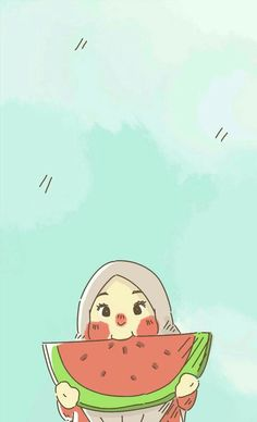 Watermelon Cartoon, Watermelon Art, Drawing Wallpaper, Cartoon Wallpaper, Cute Cartoon, Cartoon Art, Hijab Drawing, Instagram Emoji, Islamic Cartoon