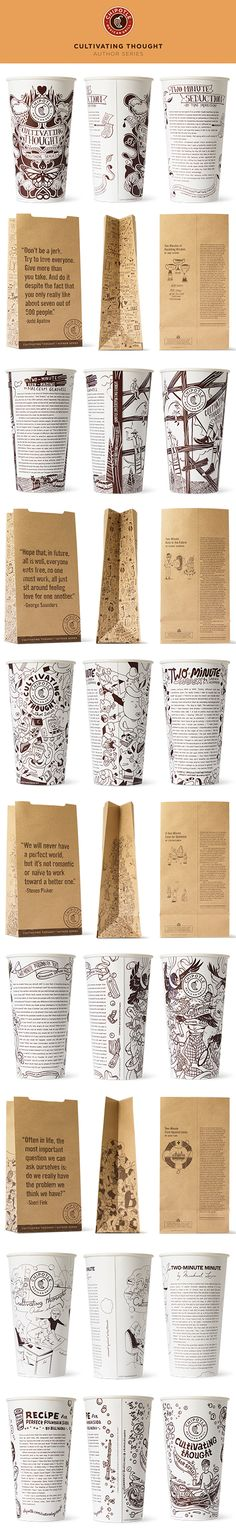 The cup second from the bottom was illustrated by Antony Hare, a professional Illustrator from London, Ontario // Chipotle - Cultivating Thought Author Series Web Design Agency, Graphic Design Branding, Label Design, Typography Design, Lettering, Cup Design, Package Design, Packaging Box, Coffee Packaging