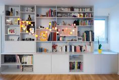 Tailor-made bookshelves by Walls & Wonders I www.mursetmerveil … Tailor-made bookshelves by Murs & Merveilles - Decoration For Home Interior Design Projects, Interior, Small Space Interior Design, Bookshelves, Bookshelf Decor, Home Decor, House Interior, Home Deco, Home Library