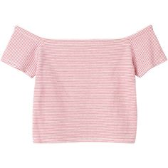 Monki Mirja top (395 UYU) ❤ liked on Polyvore featuring tops, t-shirts, shirts, crop tops, sleek stripes, pink shirt, crop tee, stripe t shirt, striped boatneck tee and striped shirts
