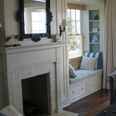 Window seat tucked in next to the fireplace, built-in shelves, curtain.In Good Taste: Giannetti Home, nook Fireplace Windows, Fireplace Built Ins, Fireplace Wall, Fireplace Mantels, Mantle, Fireplace Bookcase, Brick Fireplaces, Vintage Fireplace, Craftsman Fireplace