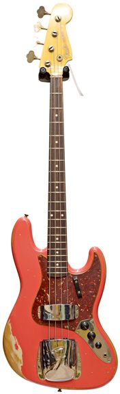 Fender Custom Shop 64 Jazz Bass Heavy Relic Fiesta Red over Desert Sand #R78409