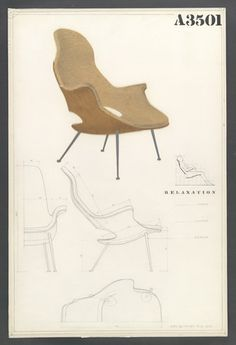 "Competition Drawing for a High-Back Armchair  Charles Eames (American, 1907–1978) and Eero Saarinen (American, born Finland. 1910–1961)    1940. Pencil on white poster board covered with cellophane, 30 x 20"" (76.2 x 50.8 cm). Gift of the designers"
