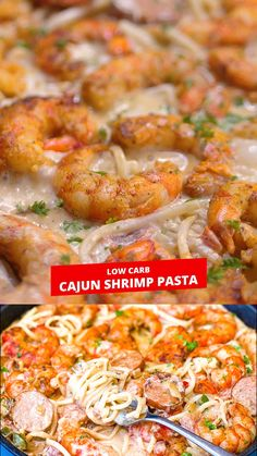 This Easy Creamy Cajun Shrimp Pasta recipe is made with andouille sausage, red and green peppers, and covered in a decadent heavy whipping cream sauce, a little similar to Alfredo. If you enjoy spicy, this seafood dish definitely has the kick! Cajun Seafood Pasta, Shrimp And Sausage Pasta, Cajun Shrimp Recipes, Crab Pasta, Seafood Pasta Recipes, Seafood Dinner, Easy Pasta Recipes, Cooking Recipes, Gourmet