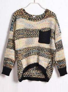 Colourful Striped Round Neck Sweater Black$40.00