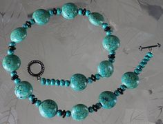 Turquoise stone and black glass bead necklace by 3DJewelry4U, $35.00