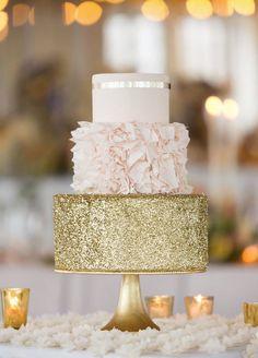 gold glitter sparkle peach and cream wedding cake