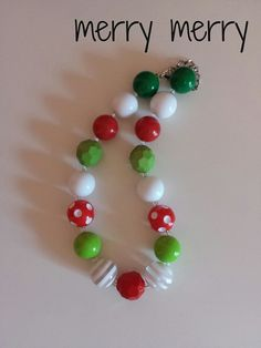 LLB Girls Chunky Necklace  merry merry by LittleLillyBelle on Etsy, $14.00 gumball bubble gum beaded necklace bracelet pretty girly gift holiday christmas idea red green