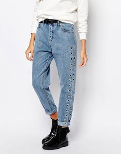 Image 1 of Pull&Bear Eyelet Detail Mom Jean