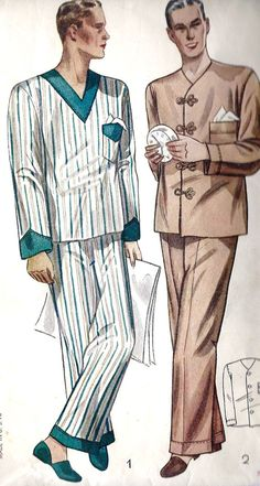 1930s Men's Two Piece Pajamas Vintage Sewing Pattern, Simplicity 2289 Chest 42""
