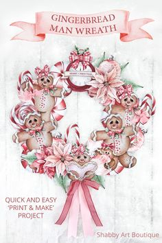 Quick and easy - Print & Make Gingerbread Man Wreath project by Shabby Art Boutique