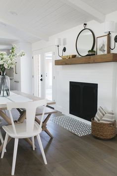 Dining room inspo from House of Jade Interiors. Painted Brick fireplace, modern transitional, neutral dining room Dining room inspo from House of Jade Interiors. Decor, House Design, Home And Living, Interior, Home Decor, House Interior, Living Spaces, Fireplace, Fireplace Hearth