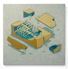 Ladrillo y Carne: 11 - Sistema osceo. ( Acrilico sobre porcelanato / 60x60cm. )  Via smitheone.tumblr.com