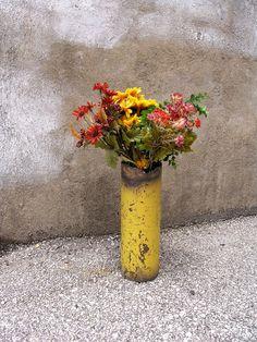 Dandelion Yellow Metal Art Vase Industrial Decor  Wet by PaulaArt