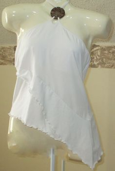 Womens Moda International Halter Top Pendant Asymmetrical Hem White Club Wear #ModaInternational #Halter #Clubwear