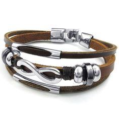 1669848137a50 KONOV Bijoux Bracelet Homme - Amour Infini Infinity Charm Manchette - Cuir  - Alliage - Fantaisie - pour Homme et Femme - Chaîne de Main - Couleur  Marron ...