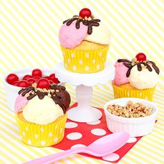 Banana Split Cupcakes Celebrate a special birthday with these easy-to-make banana split cupcakes! Start with a simple cupcake, add a few scoops of icing, and finish off with your favorite toppings. Now you have an adorable treat perfect for any bi