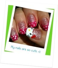My gel Hello Kitty nail design :D