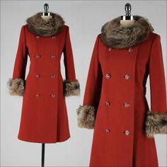 vintage 1960s coat . spice wool . raccoon fur by millstreetvintage, so cute !! <3