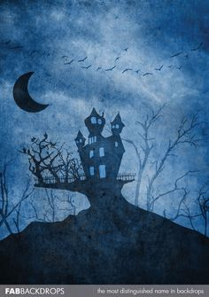 Blue Scary Haunted Mansion Halloween Backdrop