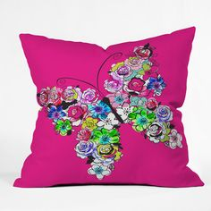 Mary Beth Freet Ink Blossoms Butterfly Throw Pillow #butterfly #neon #bedroom