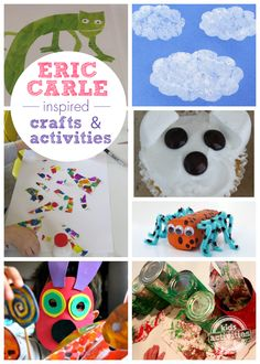 These crafts and activities are adorable and they are all connected with different Eric Carle books.  I've got to pin this one for when the school year starts up again - perfect for the classroom!