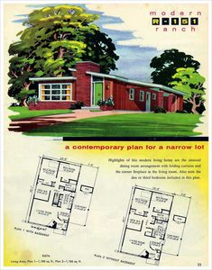 Ranch with both shed and flat roofs, prominent brick fireplace wall. National Plan Service - 1956