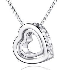 MARENJA - Collier Femme - Gravé Je t'aime - Pendentif Double Coeurs - Plaqué Or Blanc - Cristal - 45cm