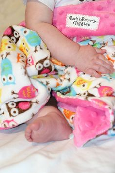 READY TO SHIP- Double  Minky Baby Blanket- Carnival Owl Minky With Hot Pink Dot Minky For Your Baby Girl on Etsy, $34.50