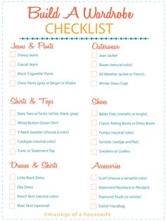 basic-wardrobe-checklist | http://www.musingsofahousewife.com/2014/01/how-to-build-a-wardrobe.html