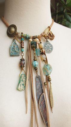 spirit amulet, boho, bohemian necklace, copper, buddha, ancient roman glass, old tribal buttons, talisman, shaman