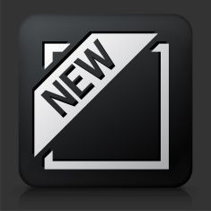 Black Square Button with New Banner vector art illustration