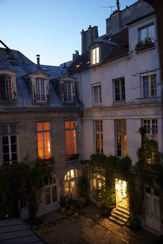 Paris: inner courtyard of a residential building. Apartments are built around a central courtyard.
