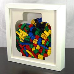 Frame For Storing Lego Silhouette Head Wall Art 3d Box Frames, Cool Lego, Awesome Lego, Atelier Creation, Lego Club, Framed Art, Wall Art, Lego Room, Lego Projects