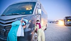 Here's Nikki and Jason at Burning Man with the stuff you need to know BEFORE you take your #RV to Burning Man!