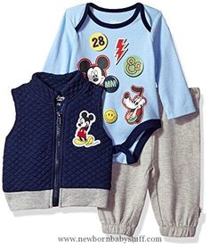 Baby Boy Clothes Disney Baby Boys' Mickey Mouse 3 Piece Vest, Bodysuit OR T-Shirt, and Pant Set, Medieval Blue, 24M