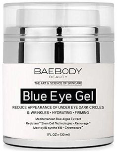 Baebody Blue Eye Gel for Dark Circles & Wrinkles - w Mediterranean Blue Algae Extract - Intensive Eye Gel for Under and Around Eyes - 1 fl oz