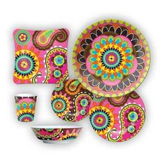 Bohemian Dishes - cute for a Ladies Brunch or to display in summer as a TableScape at Beach / Vacation Home!!