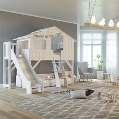 Bunk Bed with Slide Treehouse Bunk Bed with Slide, Treehouse Bunk Bed with Slide, Mathy by bols Hüttenhochbett mit Rutsche Kieferholz + MDF Mathy by Bols Treehouse Bunk Bed with Platform & Slide