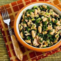 White Bean Salad with Tuna and Parsley is something I'd gobble up for lunch any time of year!  [from Kalyn's Kitchen] #GlutenFree  #SouthBeachDiet