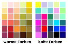 Wame und kalte Farben unterscheiden