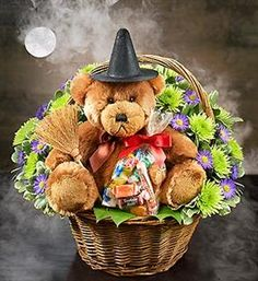 Witch Bear in flower basket for Halloween